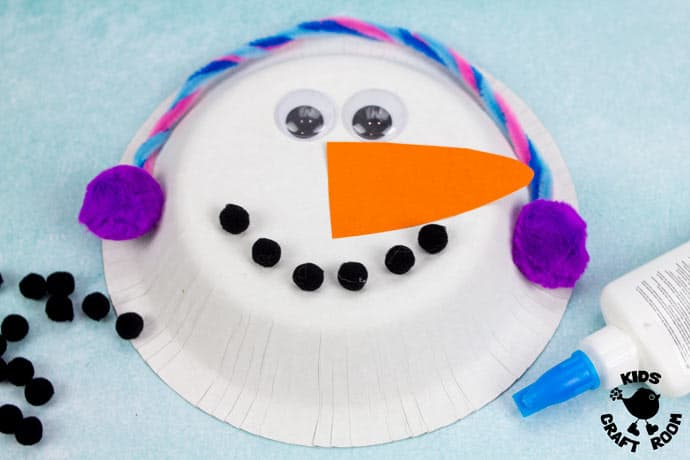 Paper Bowl Snowman Craft step 4
