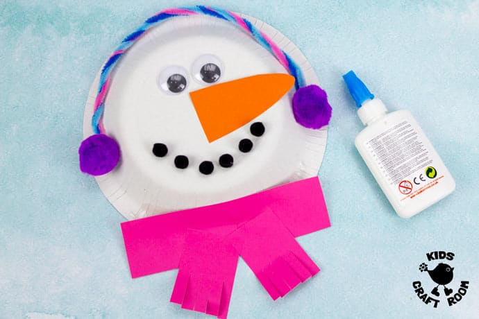 Paper Bowl Snowman Craft step 6