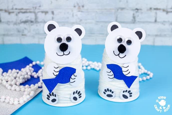 Paper Cup Polar Bear Craft step 9