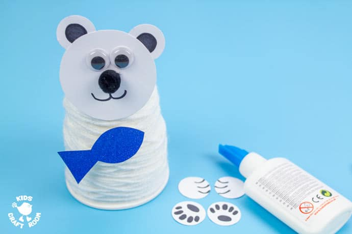 Paper Cup Polar Bear Craft step 7