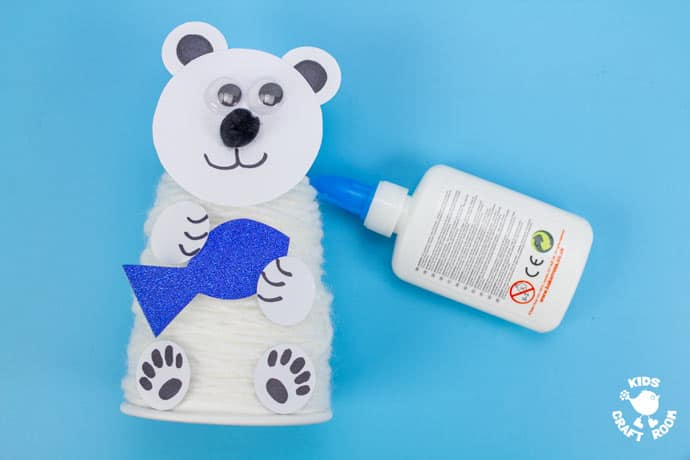 Paper Cup Polar Bear Craft step 8