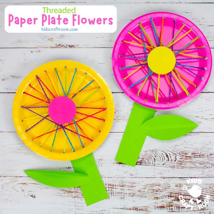 Threaded Paper Plate Flowers square pin image 2