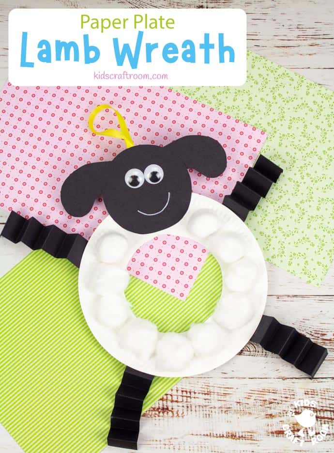 Paper Plate Lamb Wreath Craft pin image 2
