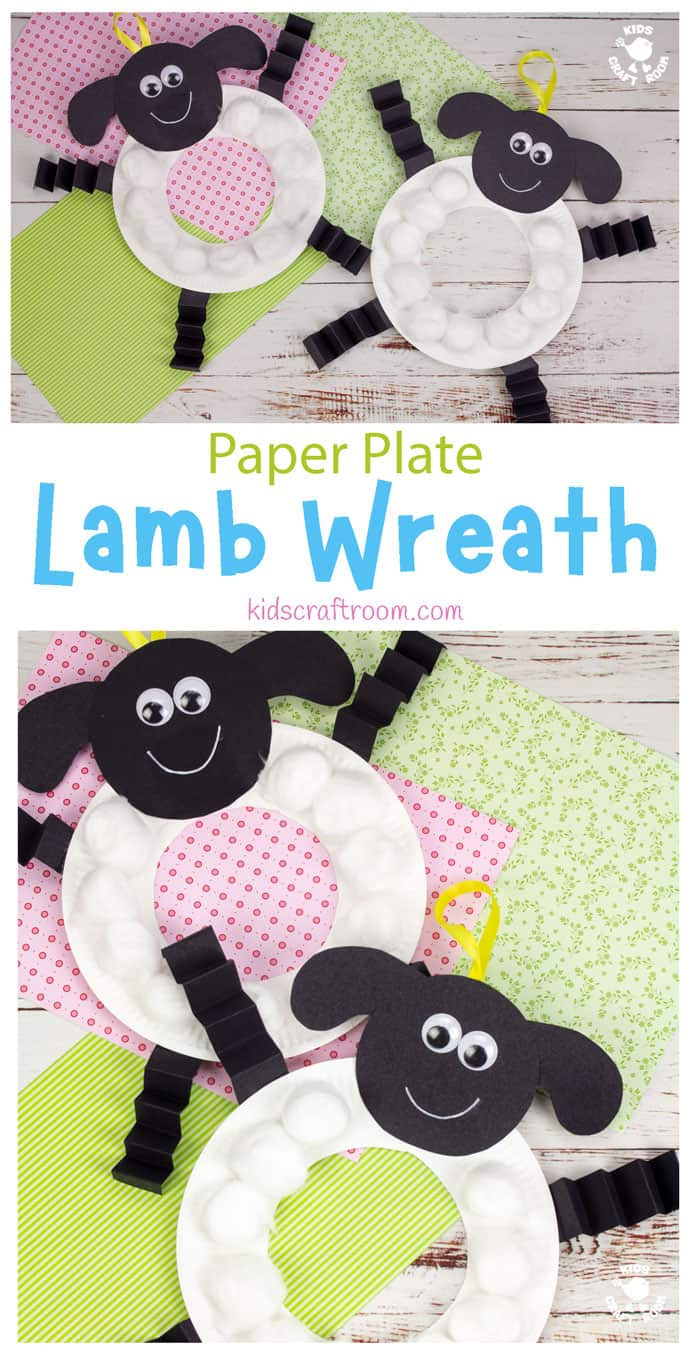 Paper Plate Lamb Wreath Craft pin image 1