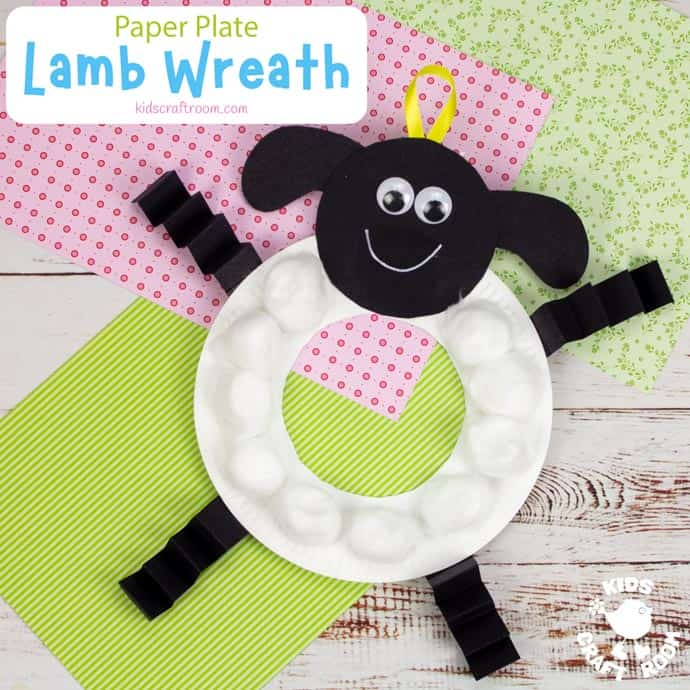 Paper Plate Lamb Wreath Craft square image