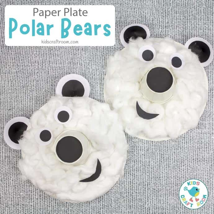 Paper Plate Polar Bear Craft square pin image