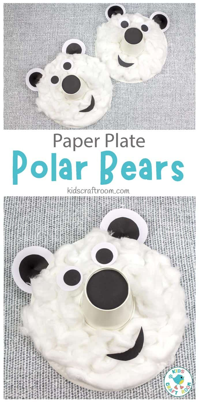 Paper Plate Polar Bear Craft pin image 1