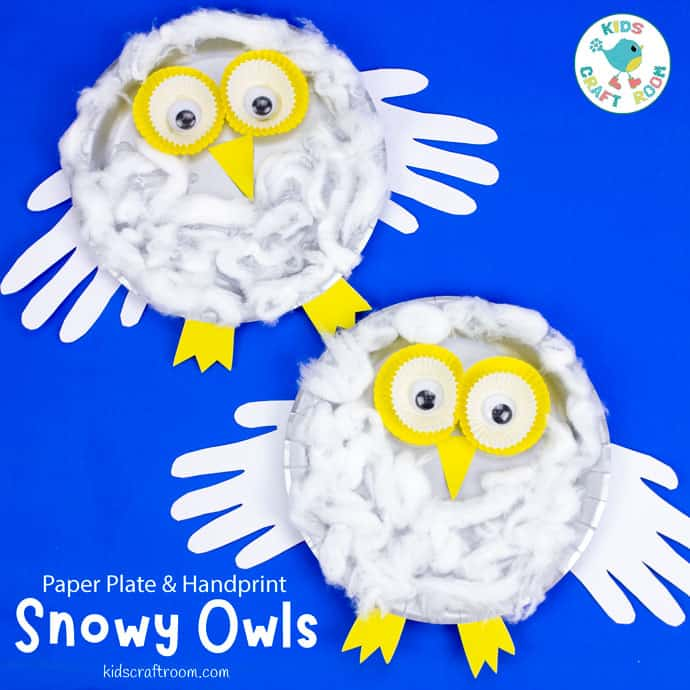 Paper Plate Snowy Owl Craft pin image square