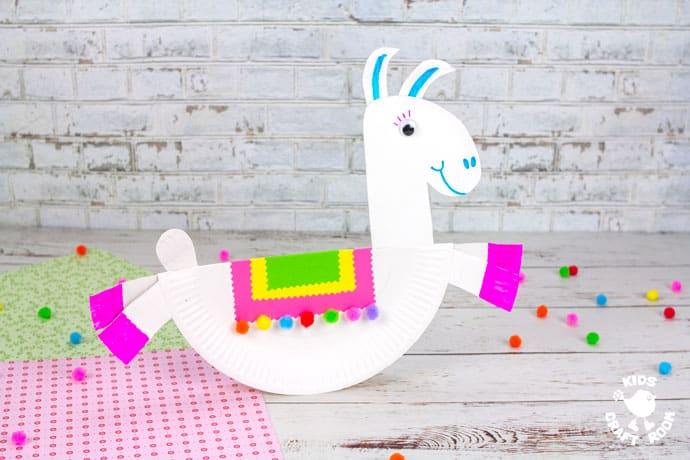 Rocking Paper Plate Llama Craft finished