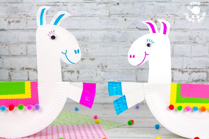 Rocking Paper Plate Llama Craft -finished, two facing each other.
