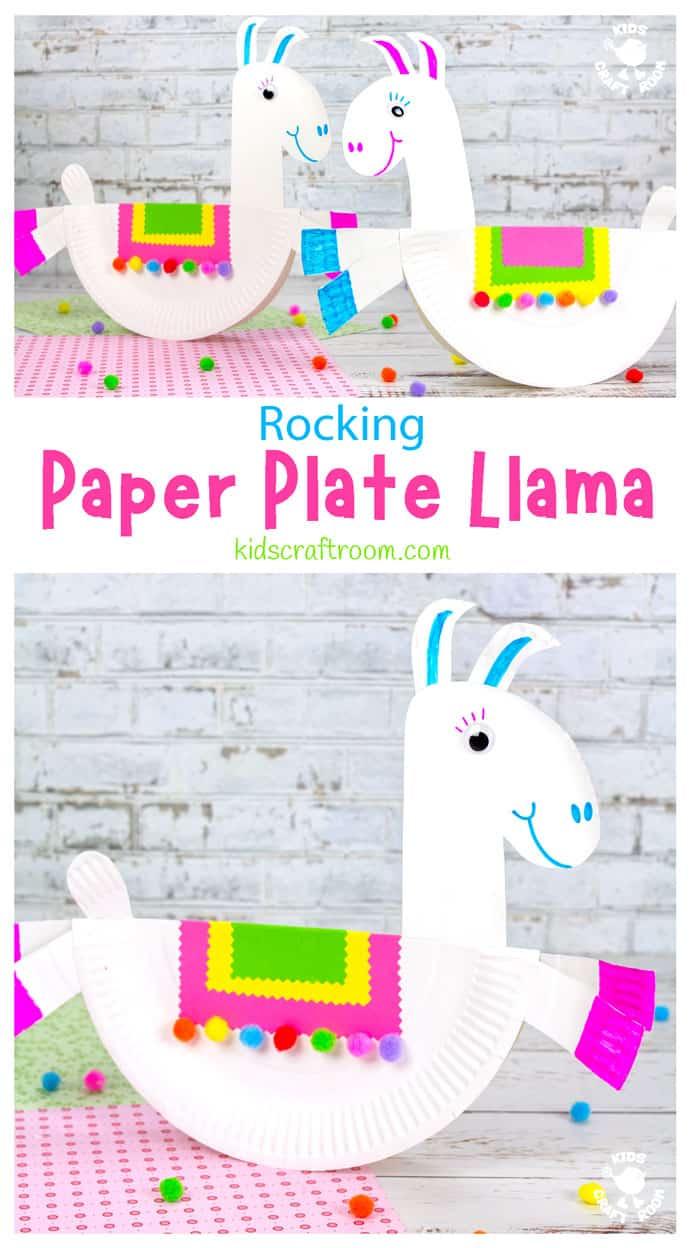 Rocking Paper Plate Llama Craft long pin image 1