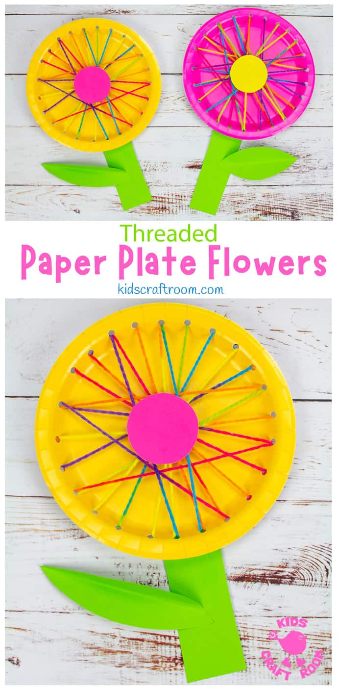 Threaded Paper Plate Flowers pin image 1