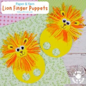 Yarn Lion Finger Puppets