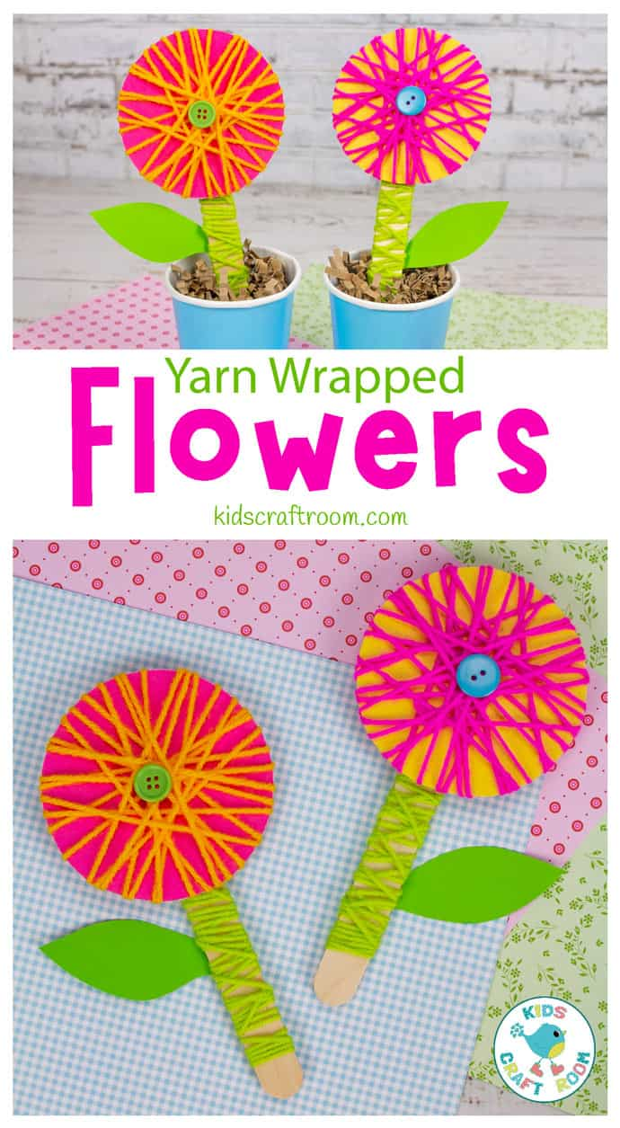 Yarn Wrapped Flower Craft pin image 1