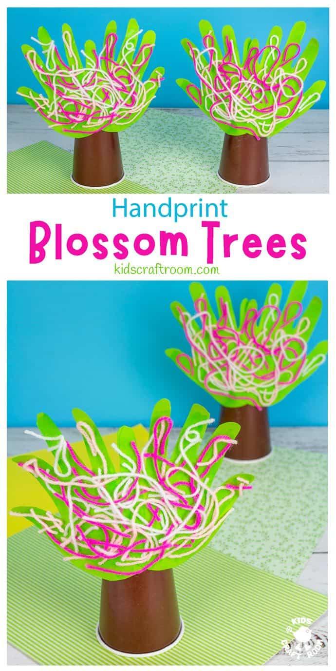 Handprint Cherry Blossom Tree Craft long pin image 1