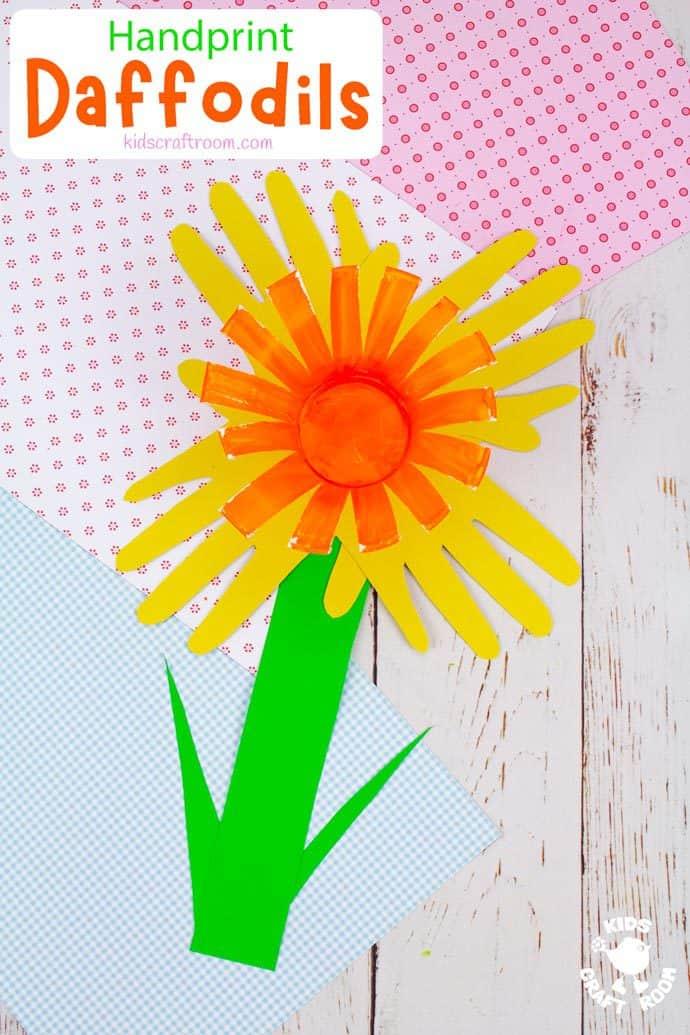 Handprint Daffodil Craft long pin image 3
