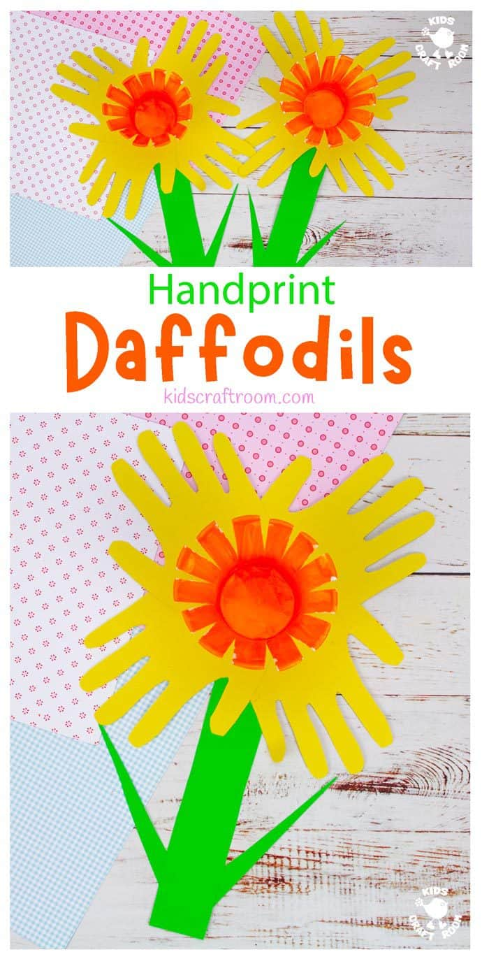 Handprint Daffodil Craft long pin image 1