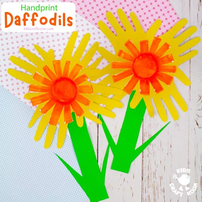 Handprint Daffodil Craft square pin image 2