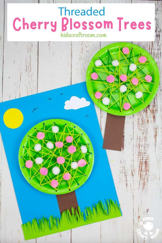 Laced Paper Plate Cherry Blossom Tree Craft pin image 3.