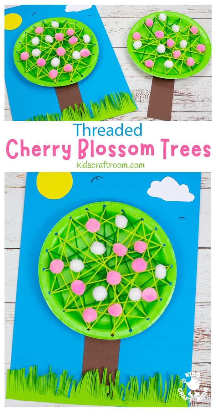 Laced Paper Plate Cherry Blossom Tree Craft pin image 1.