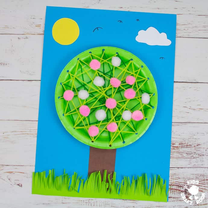 Laced Paper Plate Cherry Blossom Tree Craft pin image 2.