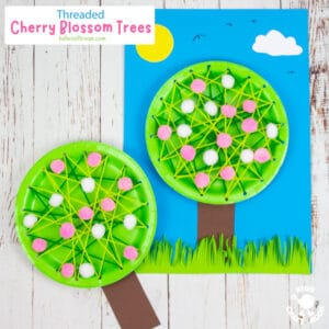 Laced Paper Plate Cherry Blossom Tree Craft