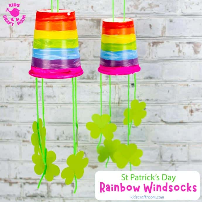 Paper Cup St Patrick's Day Windsock Craft square pin