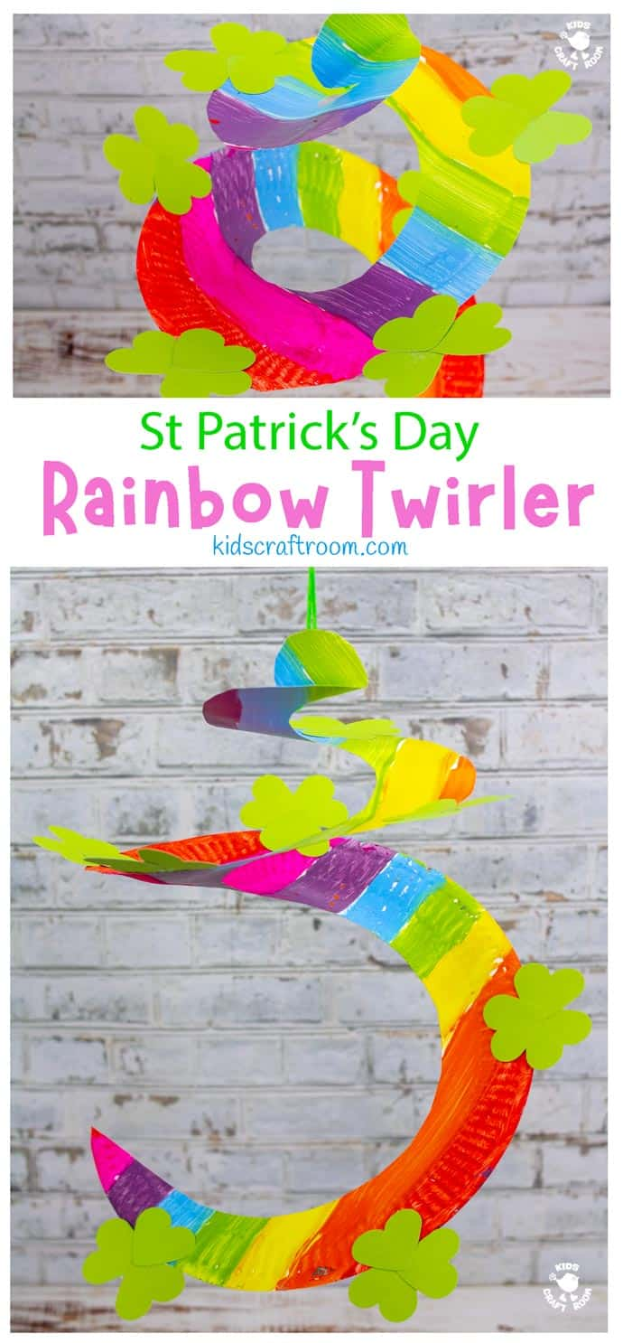 St Patrick's Day Paper Plate Twirler Craft - hanging from ceiling