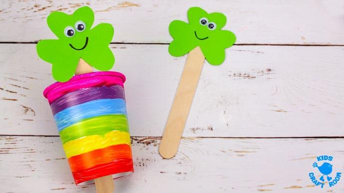 St Patrick's Day Shamrock Puppet Craft step 6