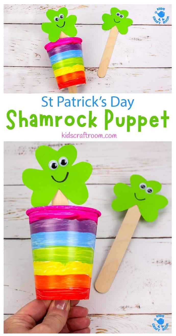 St Patrick's Day Shamrock Puppet Craft pin 1