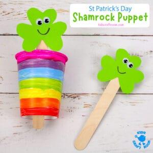 St Patrick's Day Shamrock Puppet Craft