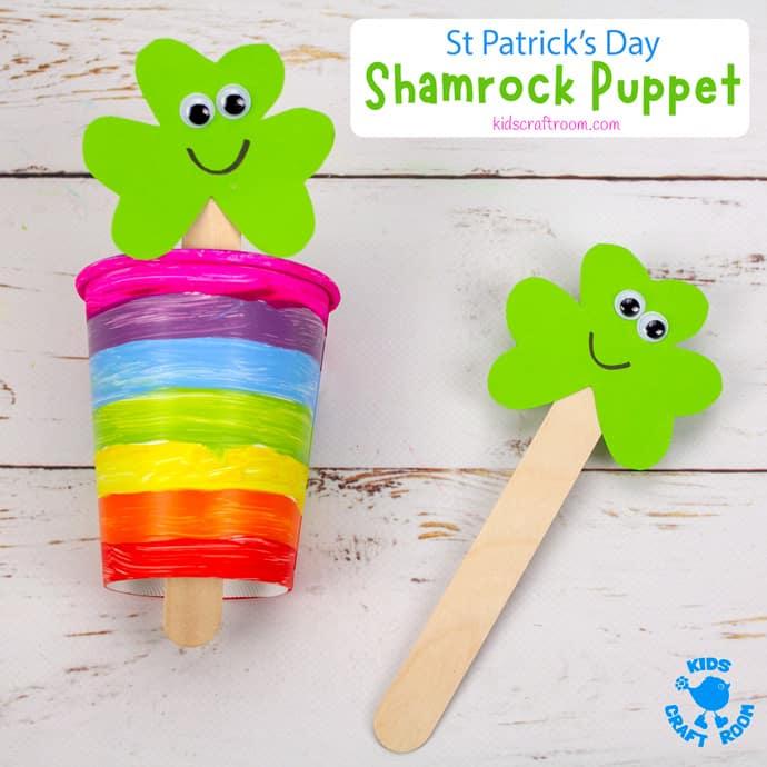 St Patrick's Day Shamrock Puppet Craft pin 2