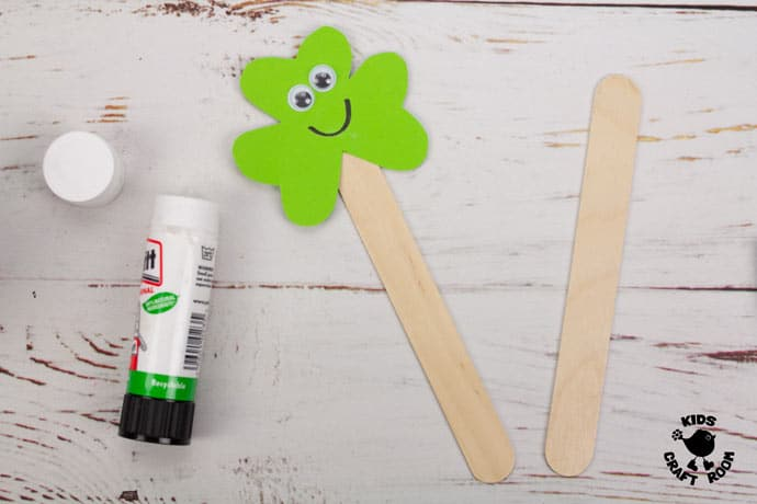 St Patrick's Day Shamrock Puppet Craft step 4