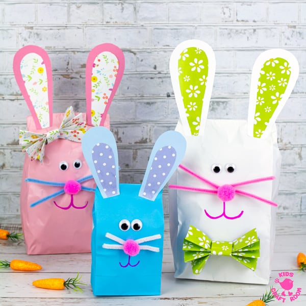 Stuffed Paper Bag Bunny Craft in a square.