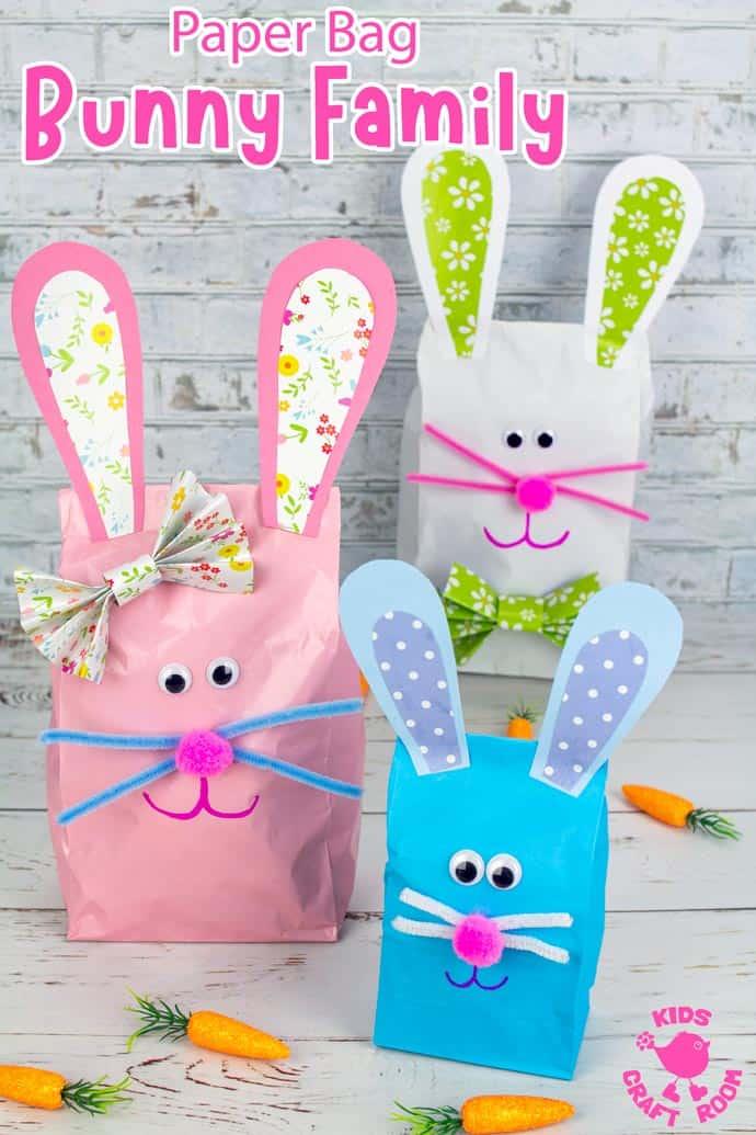 Stuffed Paper Bag Bunny Craft long pin image 2.