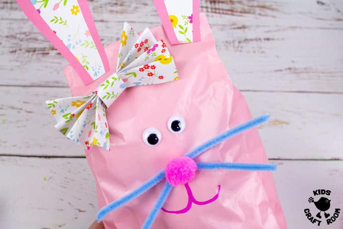 Stuffed Paper Bag Bunny Craft close up of mummy bunny.