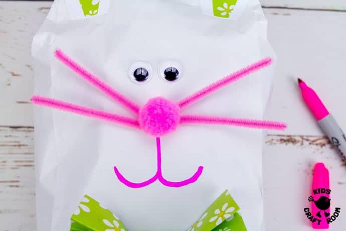 Stuffed Paper Bag Bunny Craft step 7.