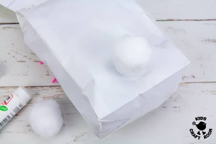 Stuffed Paper Bag Bunny Craft step 8.