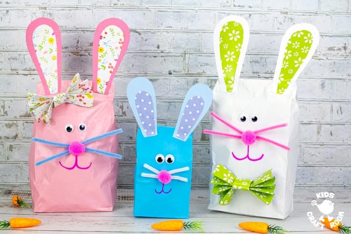Stuffed Paper Bag Bunny Craft in a row.