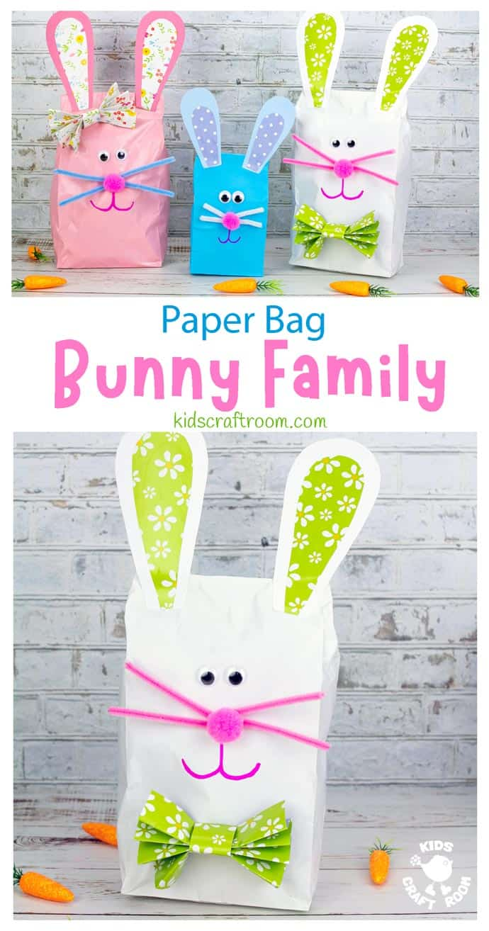 Stuffed Paper Bag Bunny Craft long pin image.