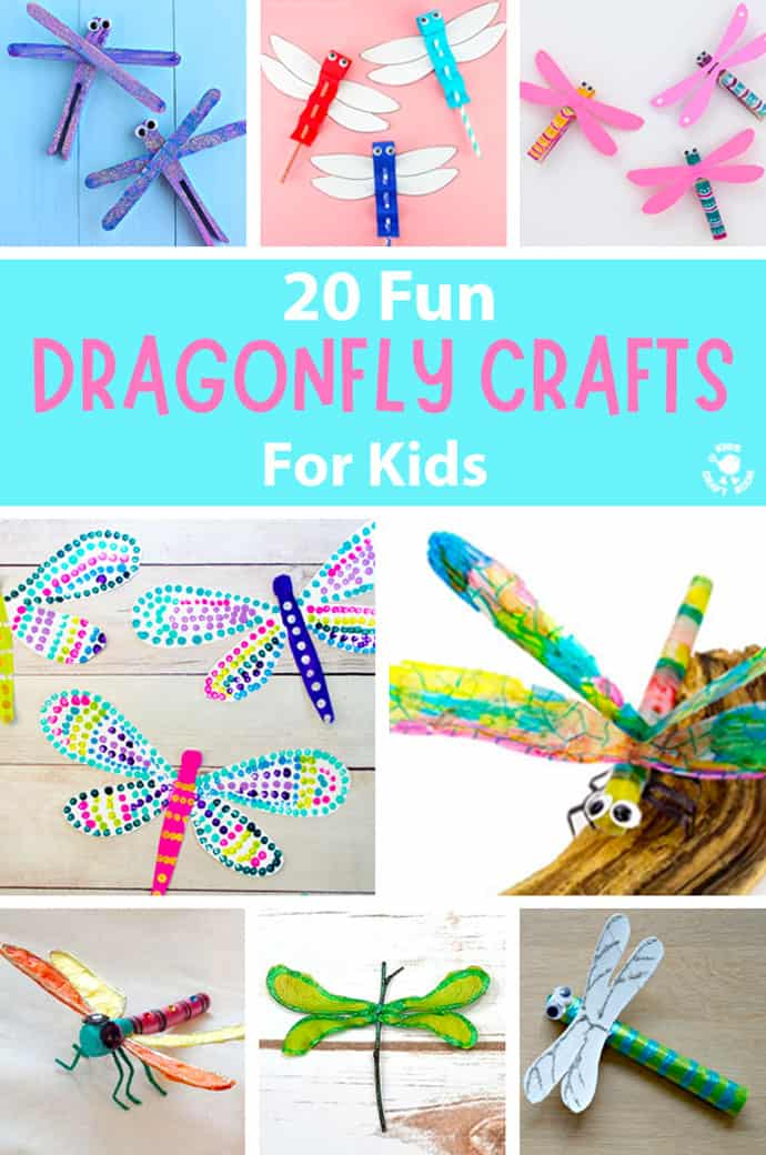 20 Pretty Dragonfly Crafts For Kids pin image 1.