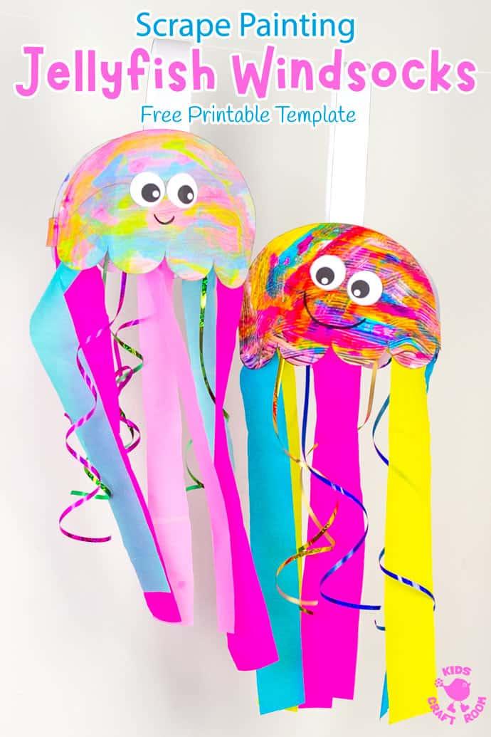 Scrape Painted Jellyfish Windsock Craft pin image 1.