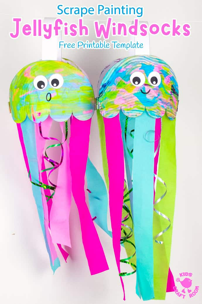Scrape Painted Jellyfish Windsock Craft pin 3. Two jellyfish windsocks hanging from a string.