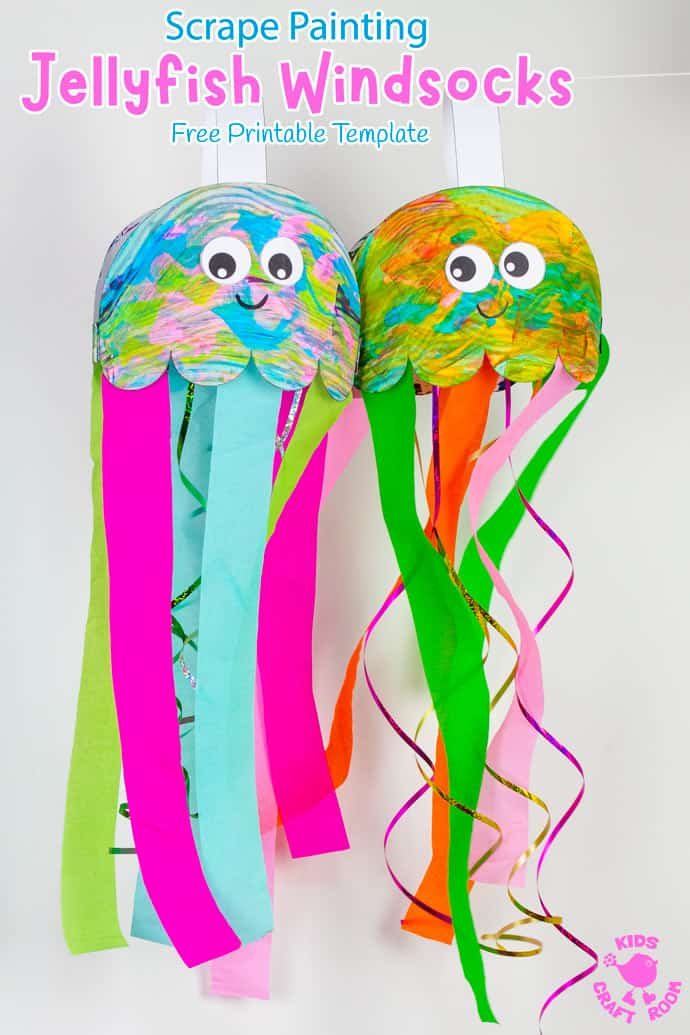2 Scrape Painted Jellyfish Windsock Crafts hanging up side by side.