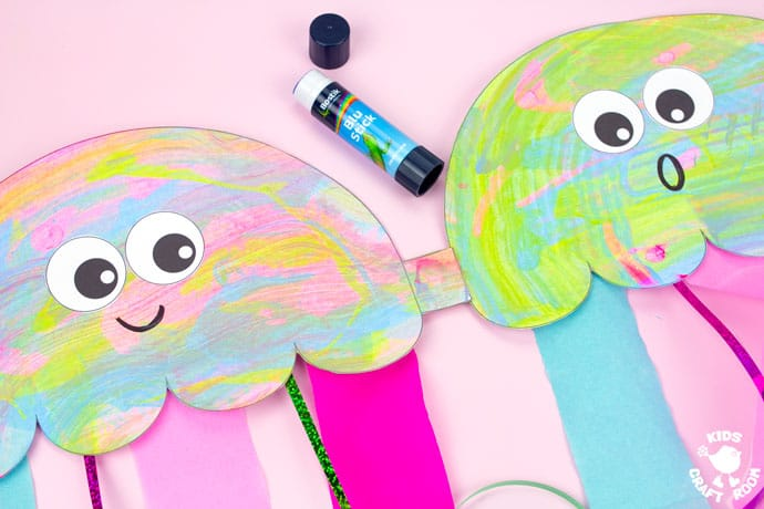 Scrape Painted Jellyfish Windsock Craft step 7.