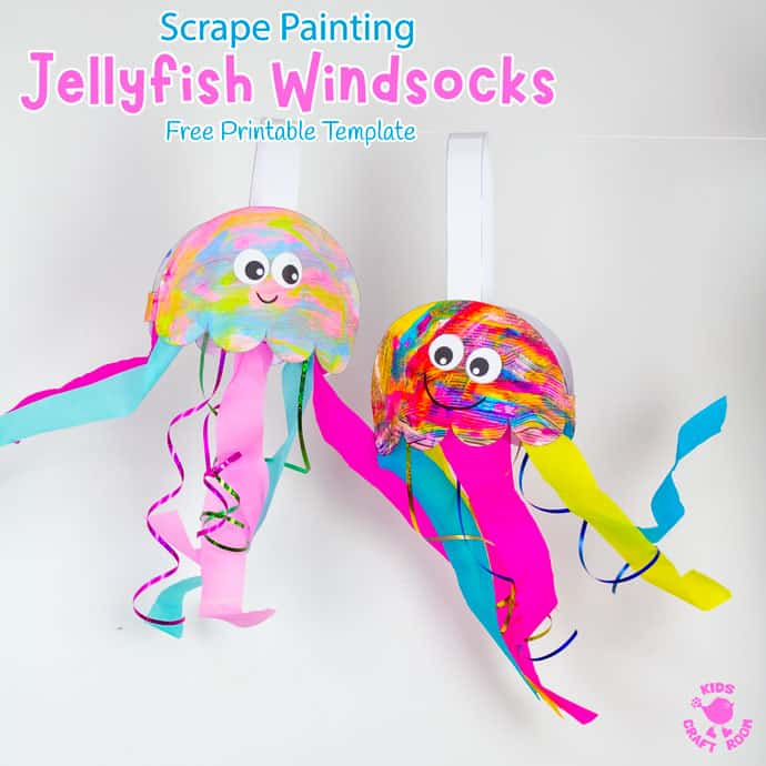 Scrape Painted Jellyfish Windsock Craft hanging up with the wind blowing through their tentacles.