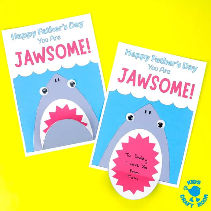 Shark Father's Day Cards on a yellow table top. Square image.