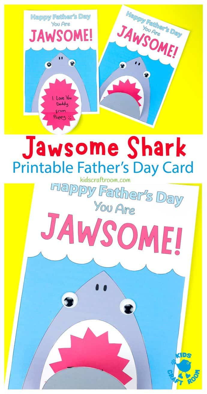 Shark Father's Day Card on a yellow table top. Pin image 1.