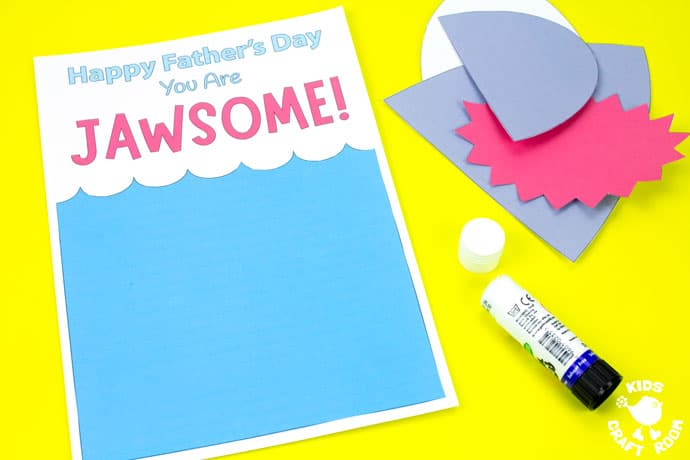 Shark Father's Day Card on a yellow table top. Step 2.