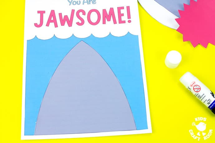Shark Father's Day Card on a yellow table top. Step 4.